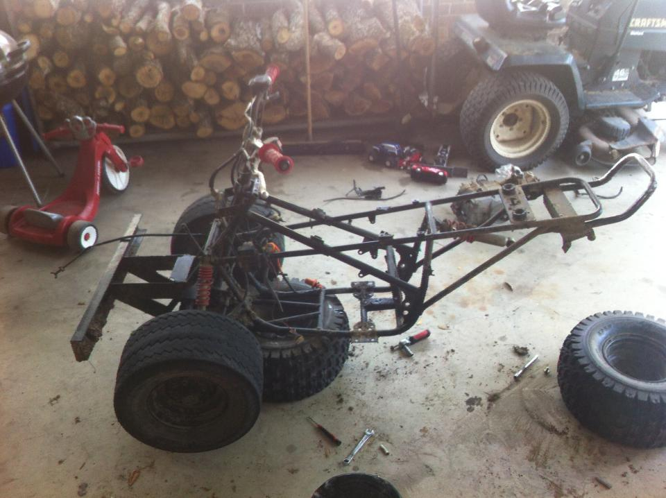trx 90 frame up rebuild 110cc swap pics general atv while i was waiting on front end parts i did a mock up of the motor and to run a quick test on the wiring harness and to make sure every thing would fit