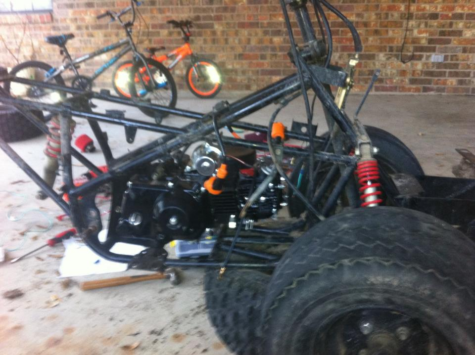 trx 90 frame up rebuild 110cc swap pics general atv motor slipped right in only issue being clearance o the carb an elec starter so i went to dratv and purchased a 10 way intake manifold adapter