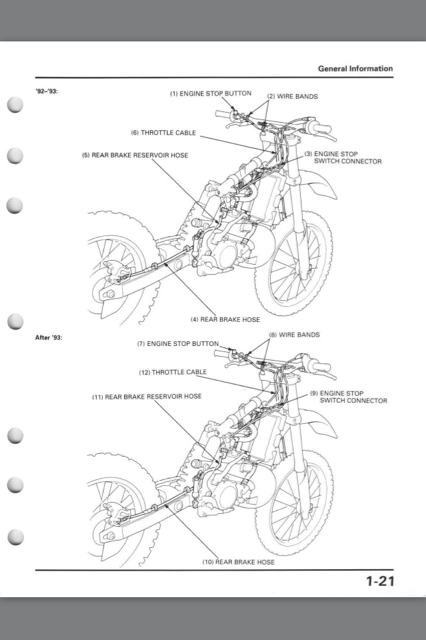 clutch cable routing on cr500 - honda 2-stroke