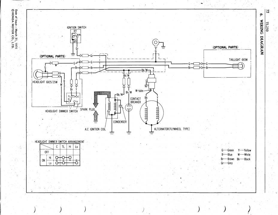 1976 honda tl250 no ignition  spark or bad coil  trials John Deere 110 Wiring Diagram Sunl 110 Wiring Diagram