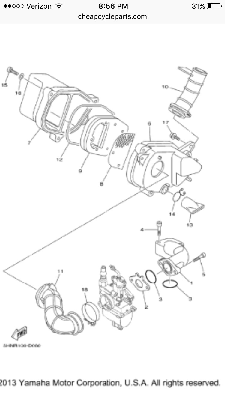What Is The Part Number For The Ttr 90 Carb Gasket Ttr Thumpertalk