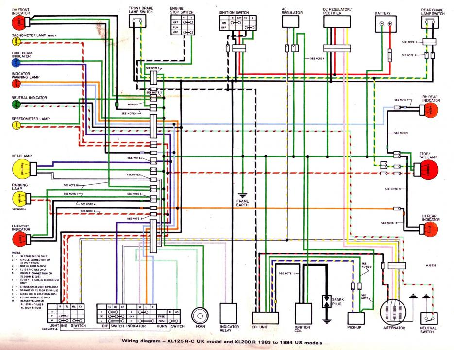 1983 honda xr200r wiring diagram  with turn signals