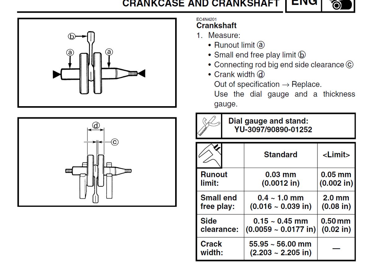 How to measure small end free play limit on crank? - WR250F/YZ250F