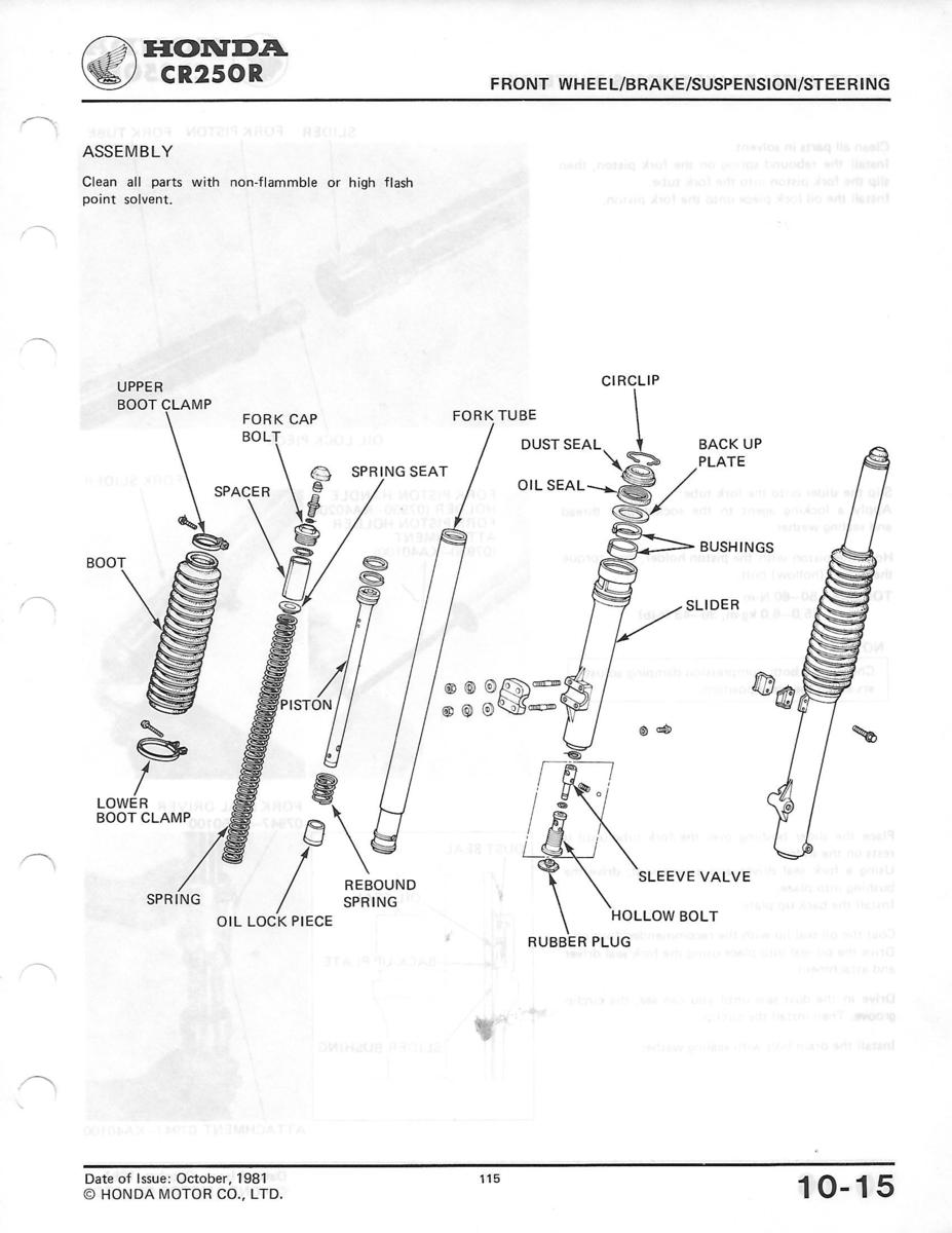 Tool to disassemble 83 CR250R Showa forks - Motorcycle Suspension