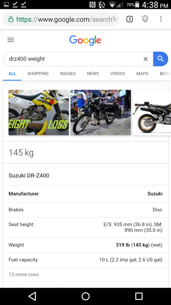 DRZ400 weight by year? - DRZ400/E/S/SM - ThumperTalk