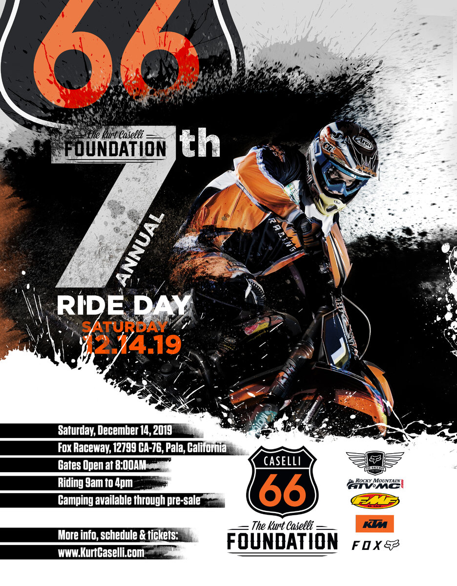 Register for the Kurt Caselli Ride Day at Fox Raceway in Pala, California
